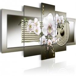 Obraz - Orchidea i ogród zen w szarościach