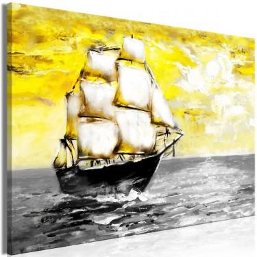 Obraz  Wiosenny rejs (1częściowy) szeroki żółty