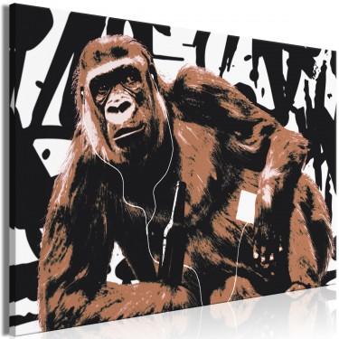 Obraz  Popartowa małpa (1częściowy) wąski brązowy