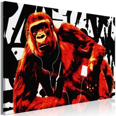 Obraz  Popartowa małpa (1częściowy) wąski czerwony