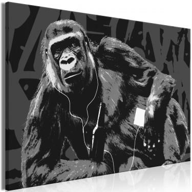 Obraz  Popartowa małpa (1częściowy) wąski szary