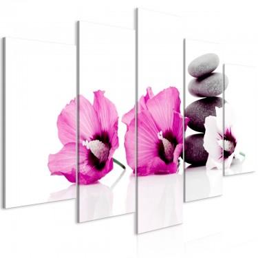 Obraz  Spokojne malwy (5częściowy) szeroki różowy