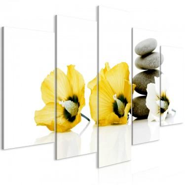 Obraz  Spokojne malwy (5częściowy) szeroki żółty