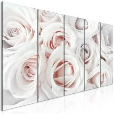 Obraz  Atłasowa róża (5częściowy) wąski różowy