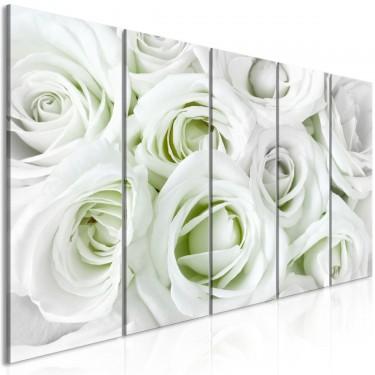Obraz  Atłasowa róża (5częściowy) wąski zielony