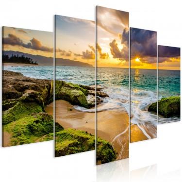 Obraz  Turkusowe morze (5częściowy) szeroki