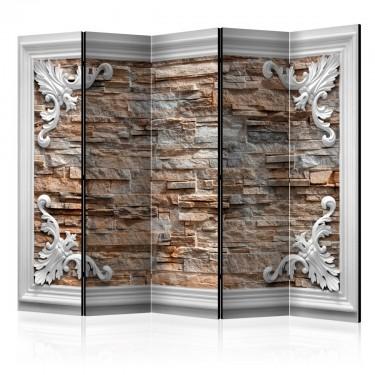 Parawan 5częściowy  Cegła w ramce (brązowy) II [Room Dividers]