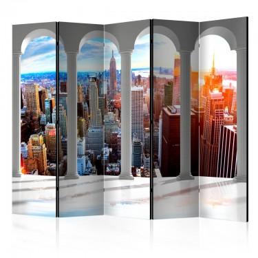 Parawan 5częściowy  Filary i Nowy Jork II [Room Dividers]