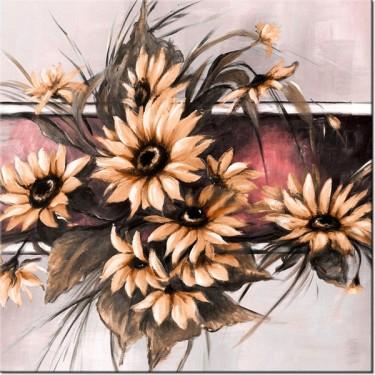 Obraz Słoneczniki w pudrowym rózu
