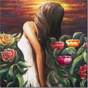 Obraz Kobieta wśród kwiatów