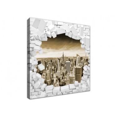 Obraz Ściana z widokiem na miasto w sepii