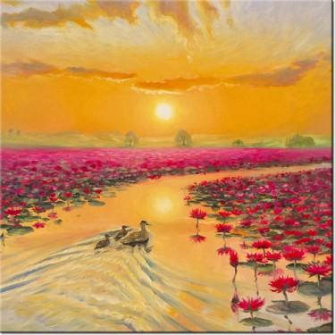 Obraz Kaczki w liliach