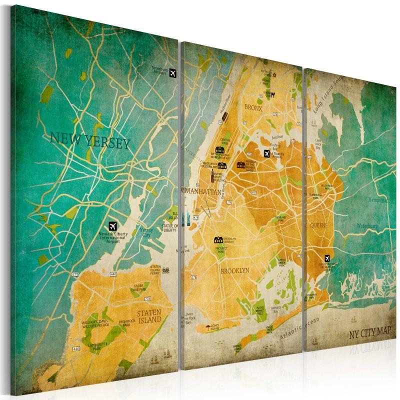 Obraz  Mapa Nowego Jorku dzielnice