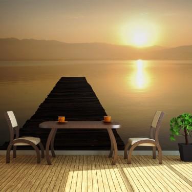 Fototapeta  pomost, jezioro, zachód słońca...