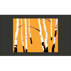 Fototapeta  Birches on the orange background