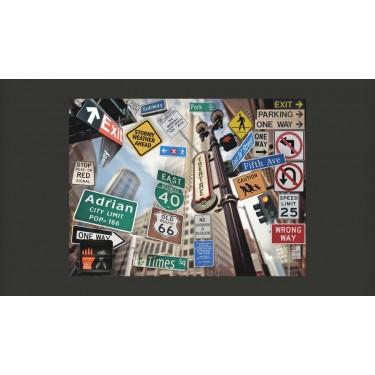 Fototapeta  Nowojorskie znaki na kolorowym tle