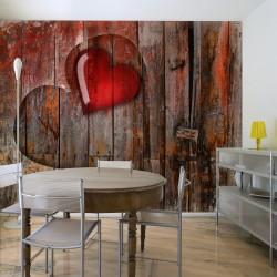 Fototapeta  Serce wyryte w drewnie